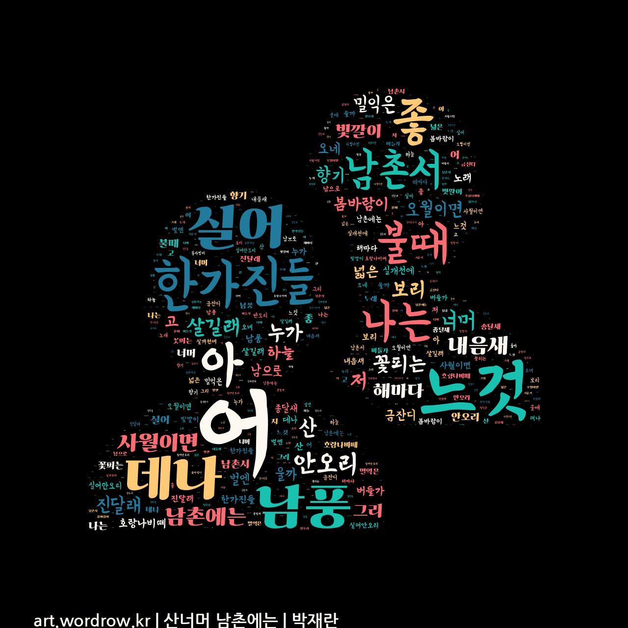 워드 클라우드: 산너머 남촌에는 [박재란]-14